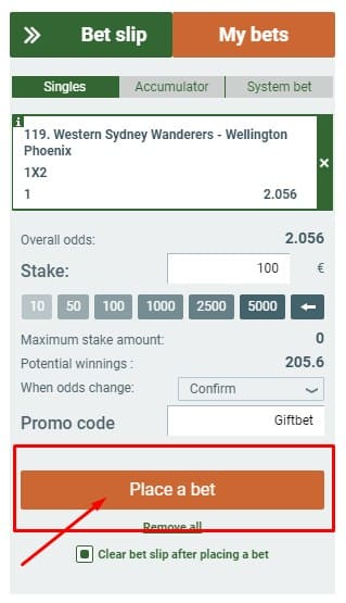 Place bet and wait a result